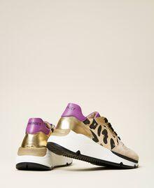 Zapatillas de running con estampado animal print Multicolor Oro / Estampado Maculado Mazapán / Wood Violet Niño 212GCJ090-04