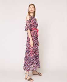 Floral chiffon full-length gown Violet Print Woman 201TP2544-02