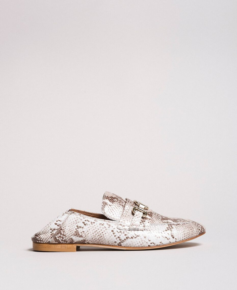 Leather loafers Ice Python Print Woman 191TCP082-02