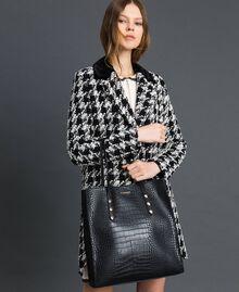 Crocodile print faux leather shopping bag Black Crocodile Print Woman 192TA7276-0S