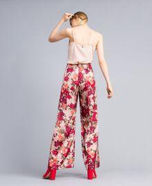 """Pantaloni palazzo con stampa fiori Stampa Floreale Rosa """"Nudo"""" Donna SA82E3-03"""