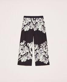 Pantalon cropped en popeline florale Imprimé Fleur Graphique Noir Femme 201TT2316-0S