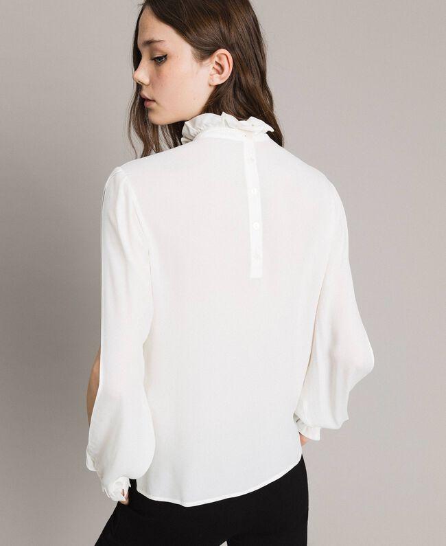 Rüschen-Bluse aus Seidenmischung Weiß Schnee Frau 191TP2135-03