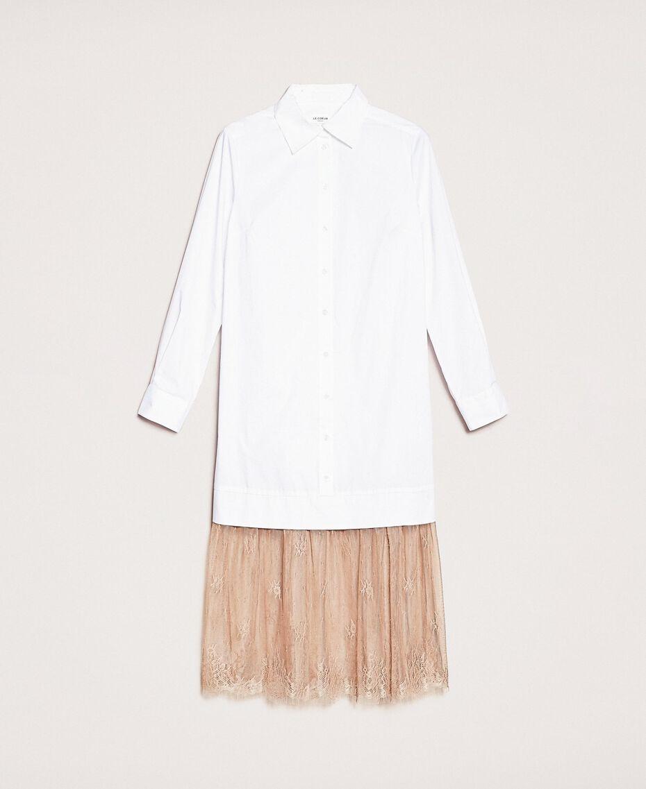 Платье-рубашка из поплина и кружева Двухцветный Белый Оптический / Светло-коричневый женщина 201ST2028-0S