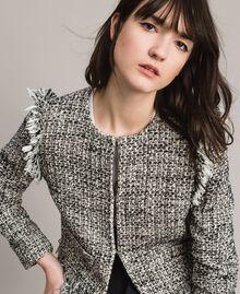 "Fringed tweed jacket Two-tone ""Snow"" White Bouclé / Black Woman 191TP2523-04"