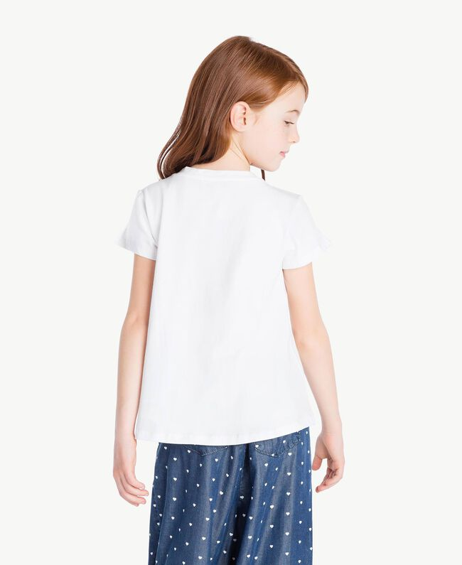"T-shirt ricamo Bicolor Bianco ""Papers"" / Blu Oceano Bambina GS82JD-04"