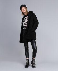 Mantel aus Lammfellimitat Schwarz Frau JA82KN-0T