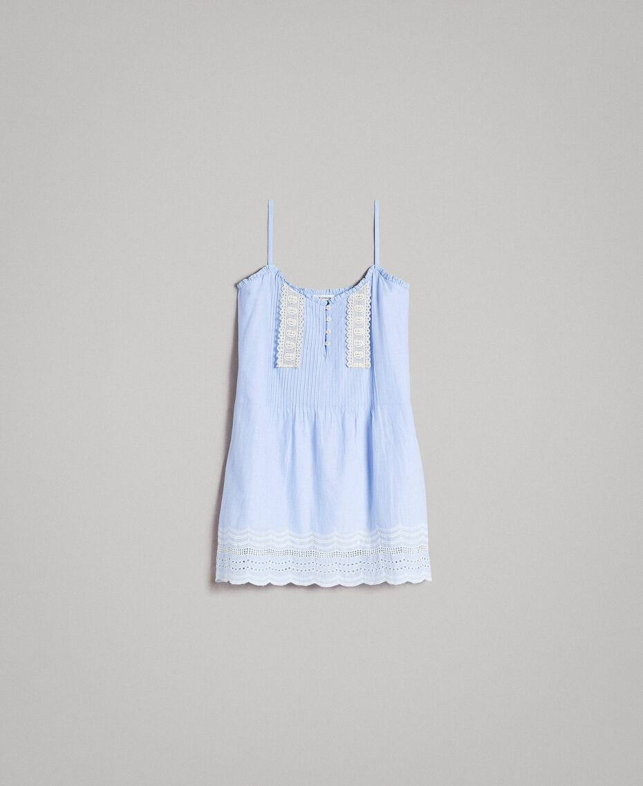 "Voile top with broderie anglaise embroidery Two-tone ""Atmosphere"" Light Blue / Ecru Woman 191ST2110-0S"