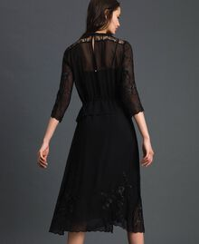 Georgette long dress with embroidery Black Woman 192TP2340-05