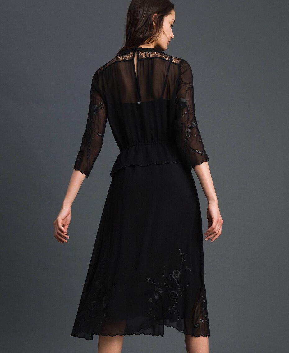 Robe longue en crêpe georgette avec broderies Noir Femme 192TP2340-05