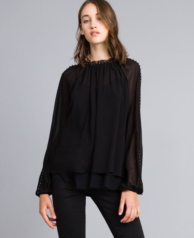Ruched blouse with pearls Black Woman JA82MB-01