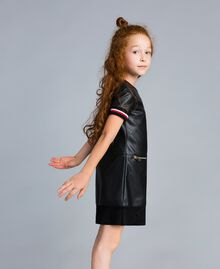 "Embroidered faux leather mini dress Bicolour Black / ""Poppy"" Red Child GA82B2-02"