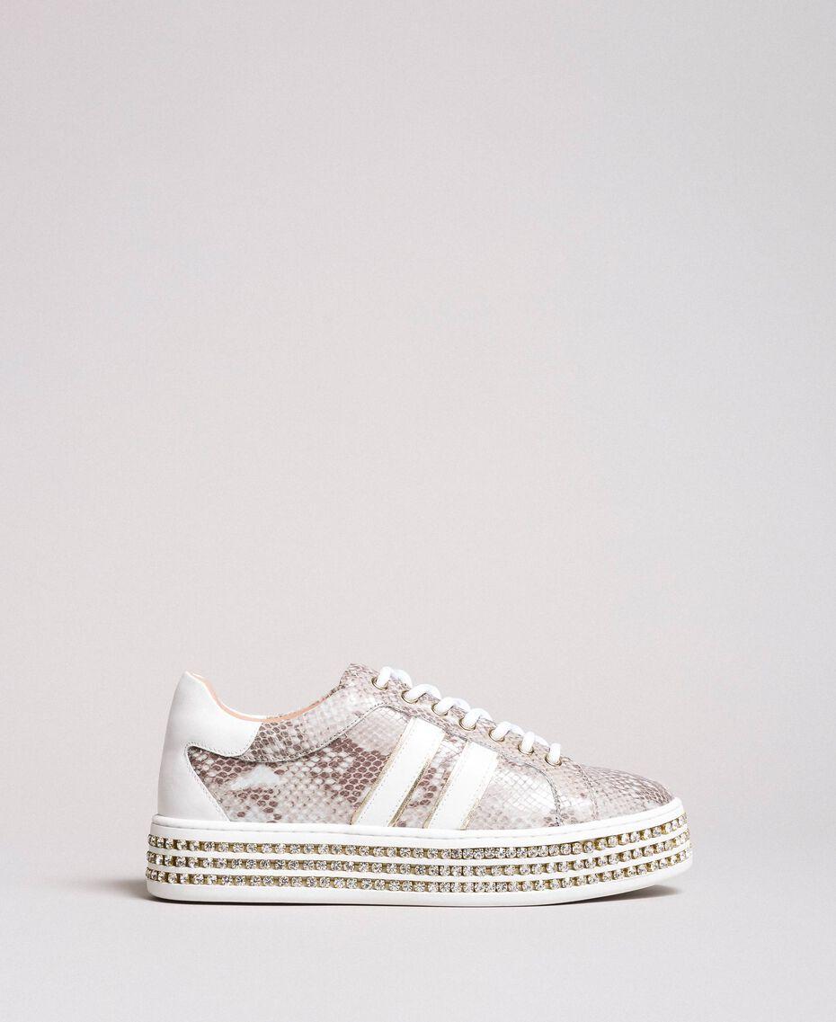 Leder-Sneakers mit Strasssteinen Silber Frau 191TCP170-02