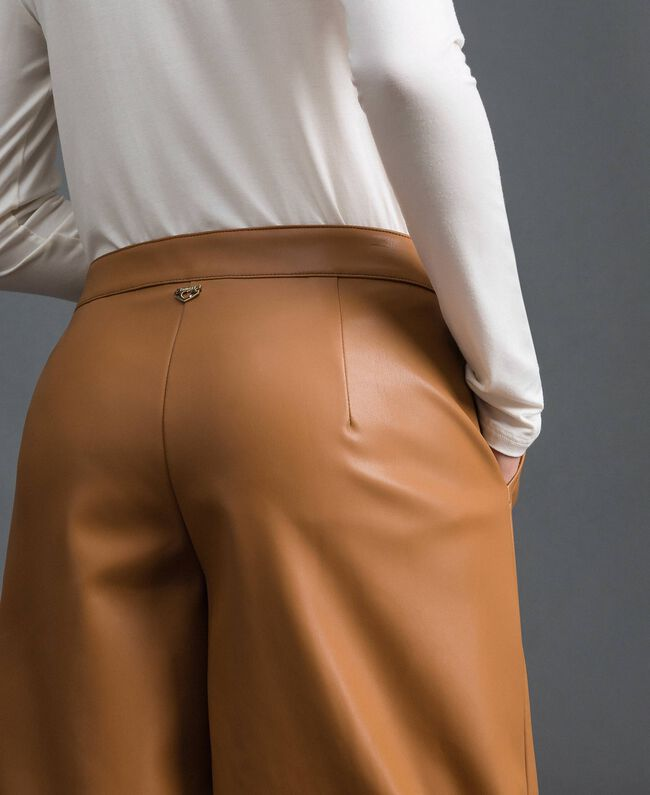 Pantalon palazzo en similicuir Beige «Camel Skin» Femme 192LI2ECC-04
