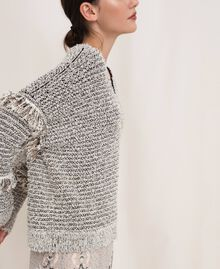 Twisted yarn jumper with lurex Multicolour Ivory / Black Woman 201TP3162-03