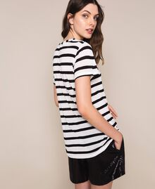 Striped maxi T-shirt with embroidery Capri Stripes Woman 201LM2LUU-04