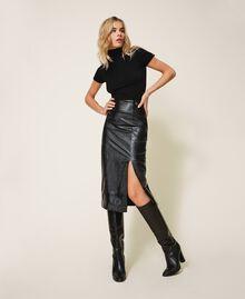 Высокие кожаные сапоги Черный женщина 202TCT084-0S