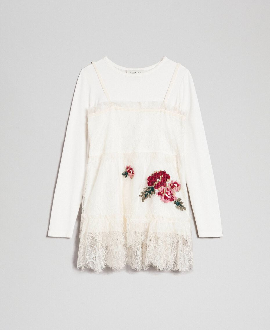 Round neck T-shirt and rose lace top Pale Cream Child 192GJ2671-0S