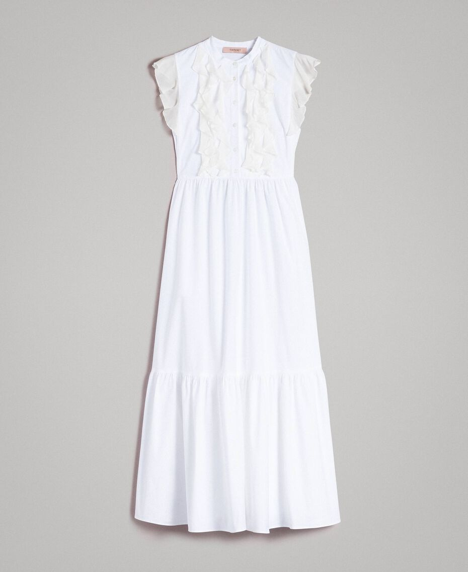 Poplin long dress with ruches White Woman 191TT2262-0S