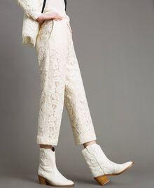 Cowboystiefelette aus Leder mit Stickerei Weiß Schnee Frau 191TCP038-0S