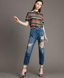 Zerrissene Girlfriend Jeans mit Pailletten Denimblau Frau 191MT2184-01