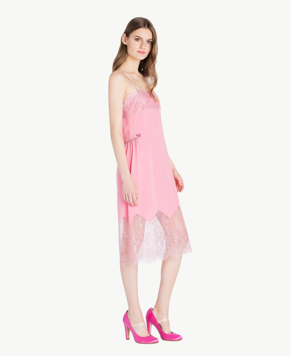 "Silk dress Two-tone ""Doll"" Pink / ""Hydrangea"" Pink Woman PS82WA-02"