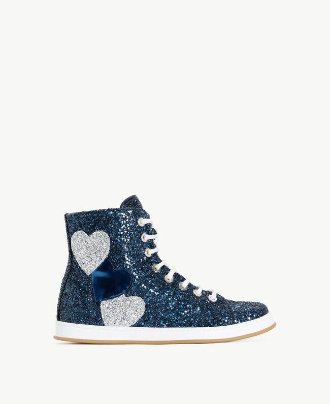 TWINSET Sneaker mit Glitter Dunkelblau Frau CS8PM7-01