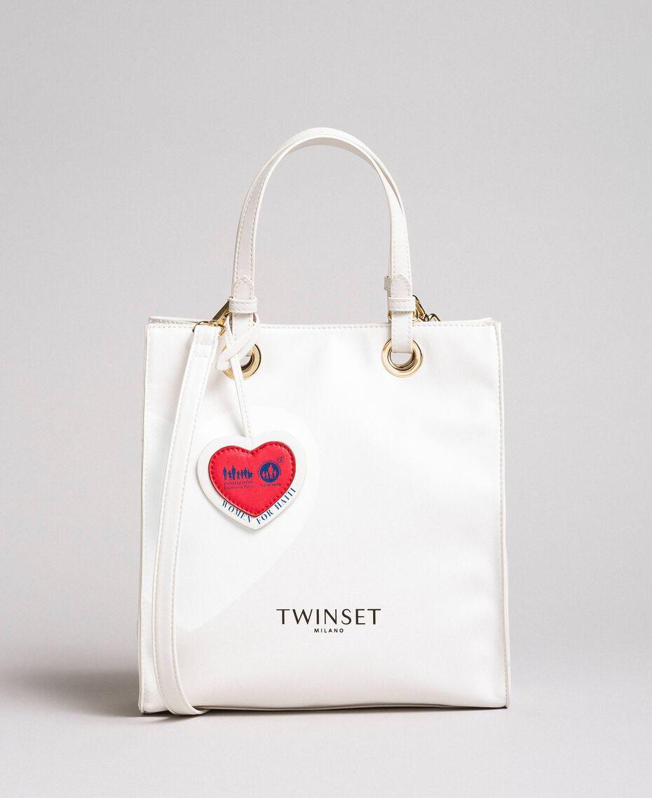 Tote bag Mon Cœur en similicuir Blanc Vanille Femme 191TQ701A-02