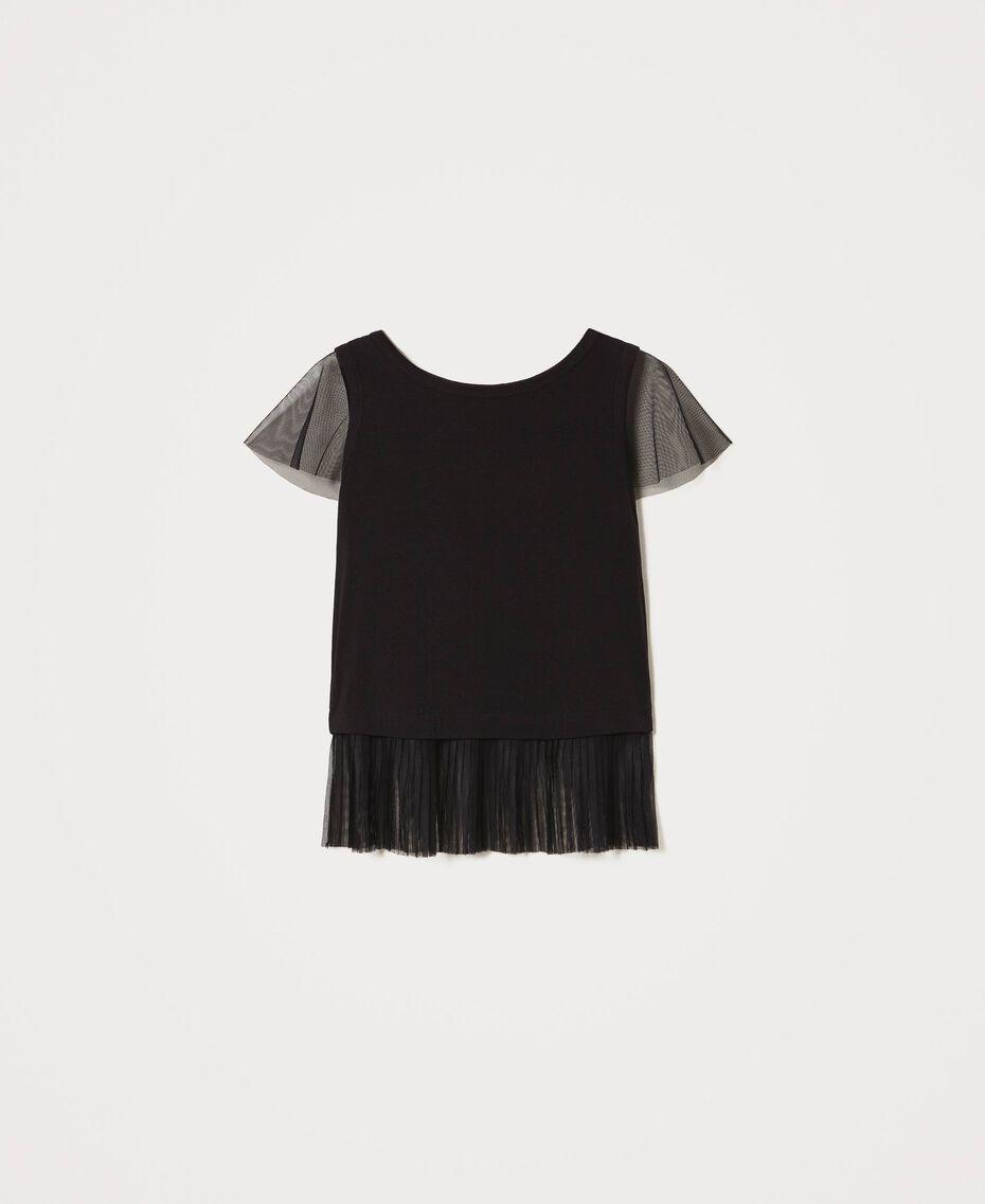 T-Shirt mit plissiertem Volant Schwarz Frau 202MP2391-0S