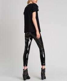 Leggings in similpelle effetto vernice Nero Donna 192MT2090-05