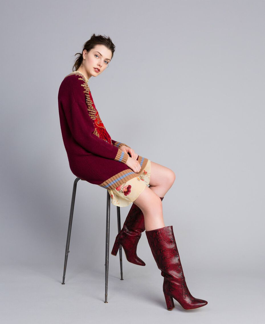 Leather high boots Burgundy Python Woman CA8PLJ-0S