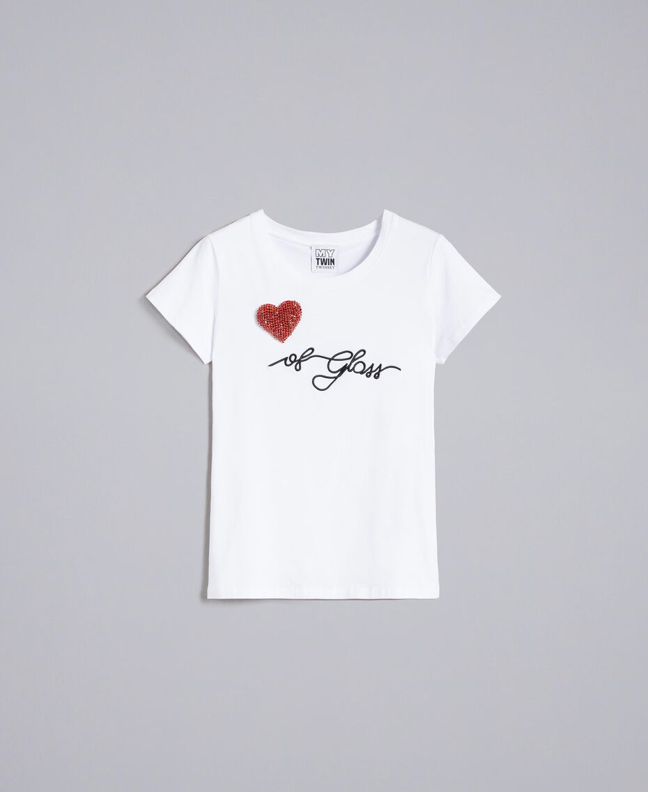"""T-Shirt aus Jersey mit Herz aus Strass """"Ice""""-Weiß Frau JA82MQ-0S"""