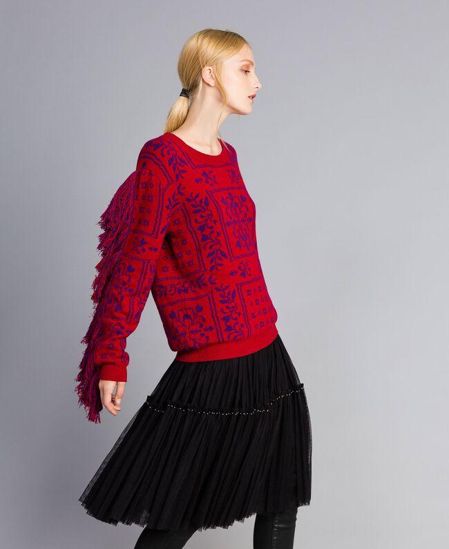 Maxi pull jacquard à franges Bicolore Violet Mûre / Rouge Cerise Femme QA8TBN-03
