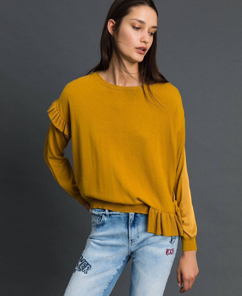 Boxy jumper with asymmetric flounce Saffron Yellow Woman 192MP3193-02