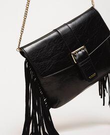 Leather shoulder bag with fringes Black Woman 201TO8142-02
