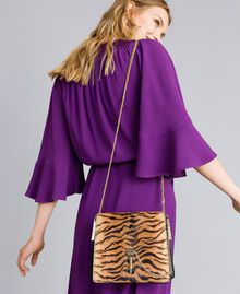 Leather and calf hair shoulder bag Tiger Print Woman OA8TDT-0S