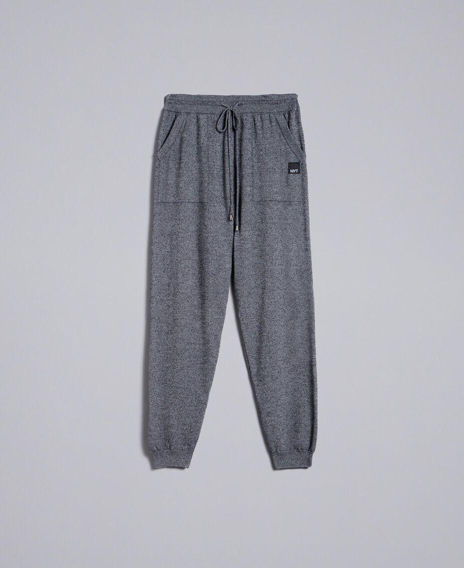 Pantalon de jogging en coton et laine Bicolore Blanc Mat / Noir Homme UA83BC-0S