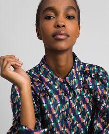 Bedrucktes Hemdblusenkleid mit Gürtel Geometrischer Fuchsprint Frau 192ST2141-04