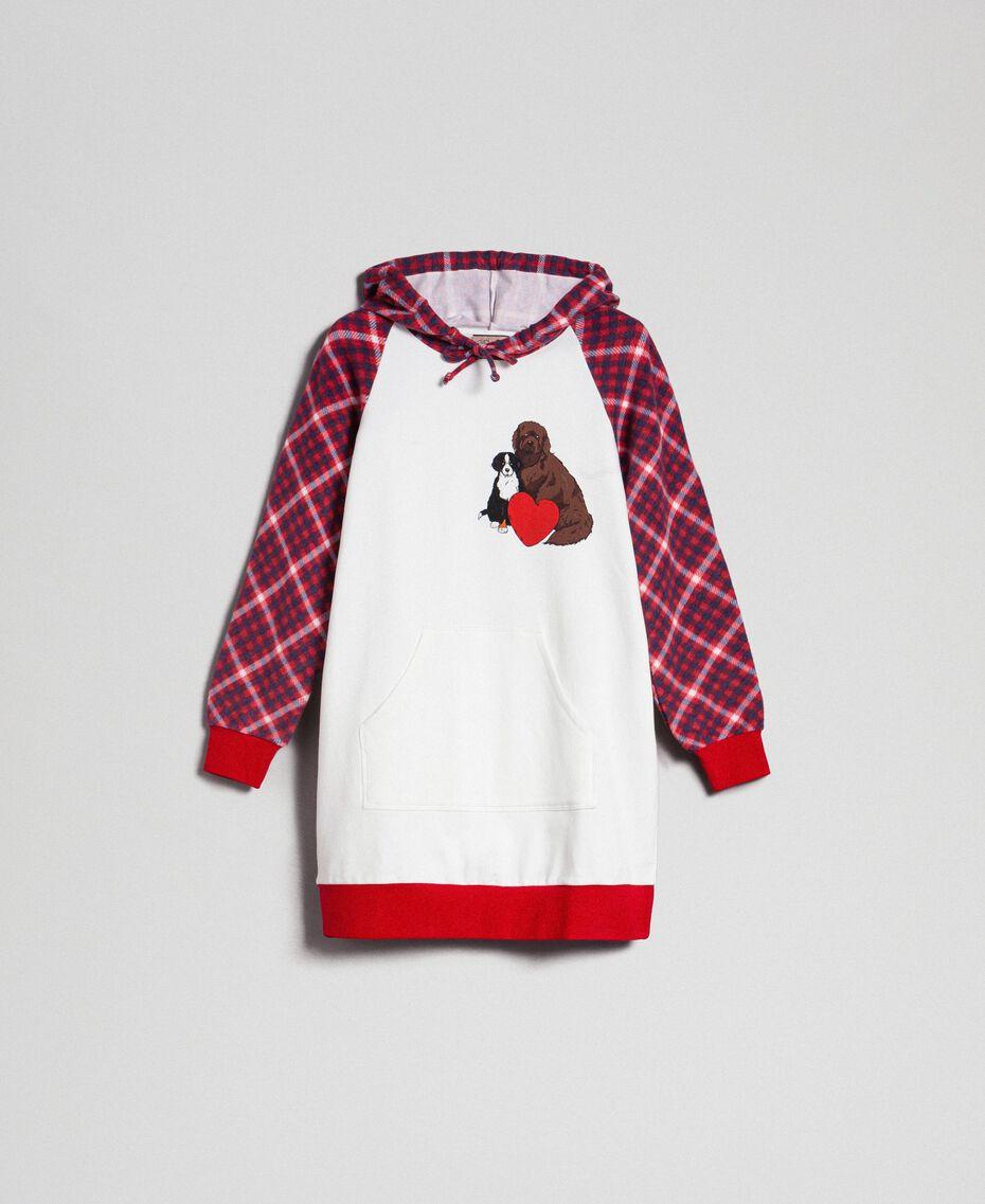 'Tury x Twinset' maxi sweatshirt White / Checks Woman 192LL21CC-0S