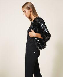 Расклешенные джинсы с пайетками Черный женщина 202MT2124-04