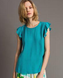 Блуза из смесового шелка с оборками Синие Квадраты женщина 191TT207A-03