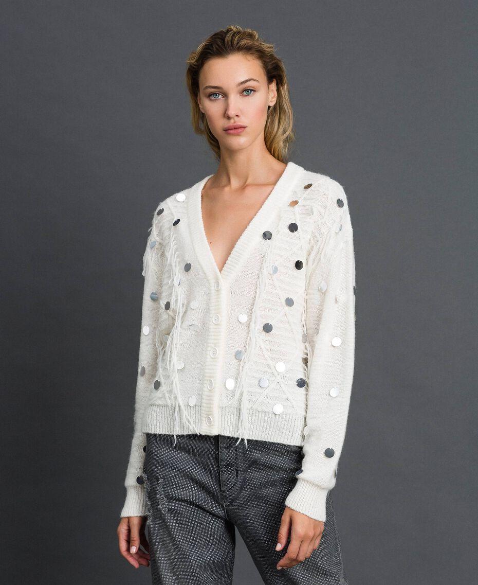 Cardigan en laine et mohair avec sequins Blanc Neige Femme 192ST3021-02
