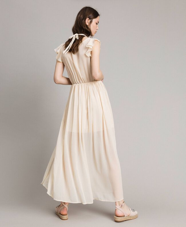 "Crepon long dress ""Milkway"" Beige Woman 191LB21HH-04"