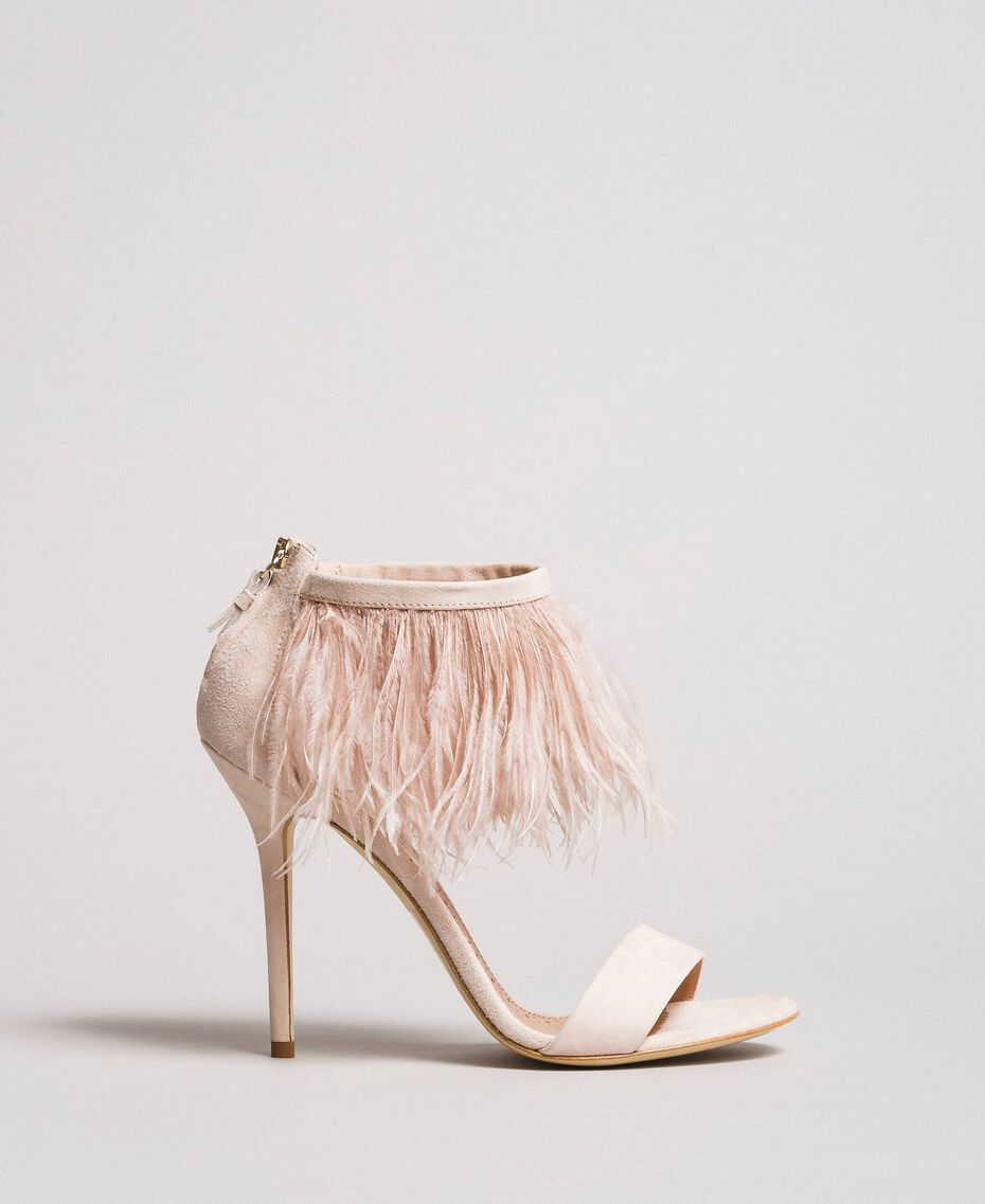 Sandali alti in pelle con piume Rosa Bocciolo Donna 191TCP210-02