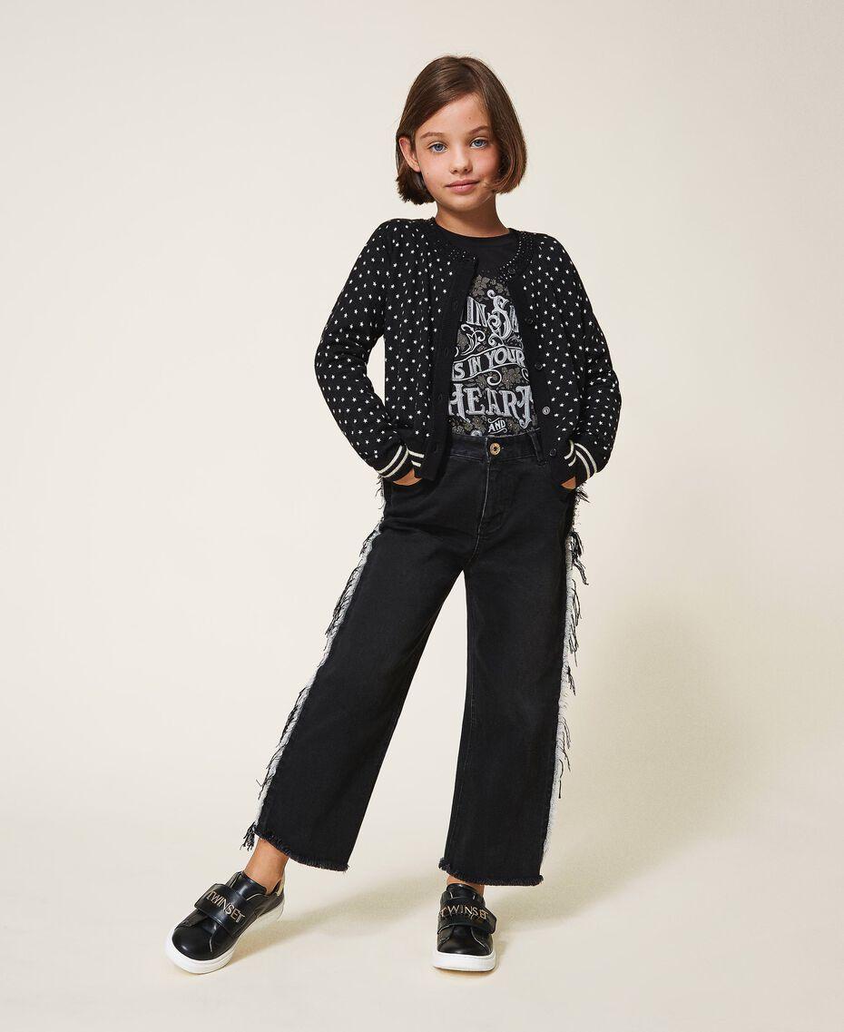 "Printed jumper-cardigan with rhinestones Black / ""Snow"" White Star Print Child 202GJ3640-01"