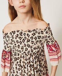 Off-shoulder animal print dress Leopard Spot & Paisley Print Child 211GJ2246-05