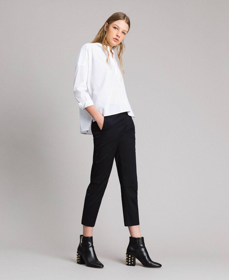 Рубашка из поплина с вышивкой под горошек Сливочный White женщина 191MP2194-02