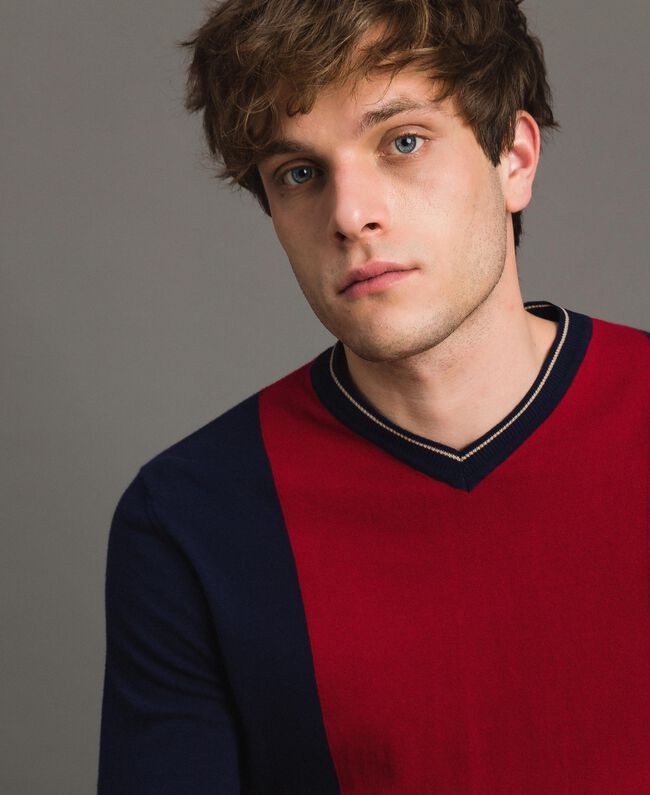 "Crêpe cotton jumper with inlay pattern Multicolour ""Blackout"" Blue / ""Dark Raspberry"" Red / Beige Porcelain Man 191UT3020-04"