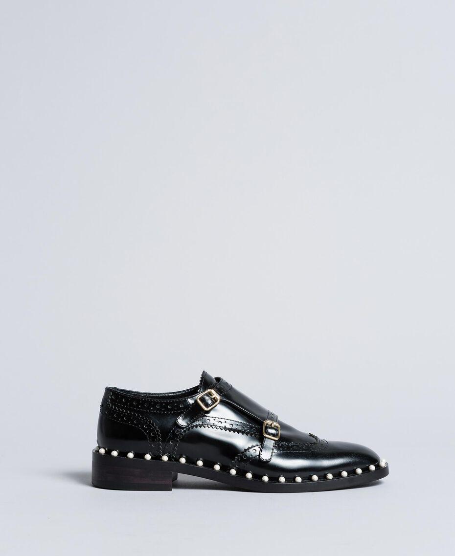 Chaussures à lacets brogues en cuir avec perles Noir Femme CA8PES-02