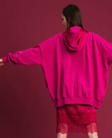 Satin maxi sweatshirt with lace and fringes Red Amaranth Woman 192MP2270-03